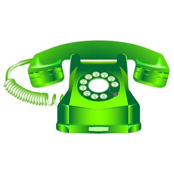 green retro telephone against white