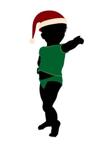 African american male infant toddler silhouette on a white background