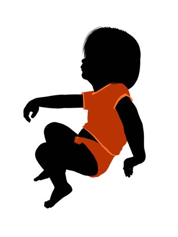 Female infant toddler silhouette on a white background