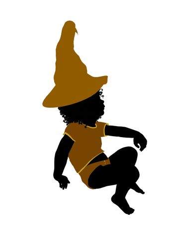 African ameircan female halloween infant toddler silhouette on a white background