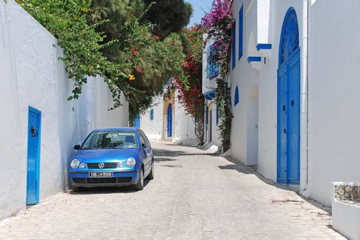 Beautiful street of Sidi Bou Said, Tunisia