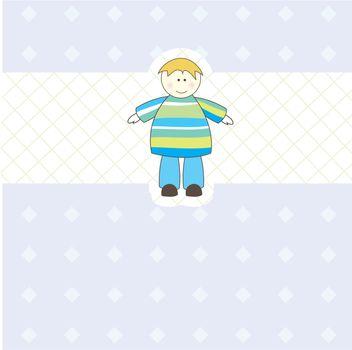 Baby boy arrival card.Vector illustration