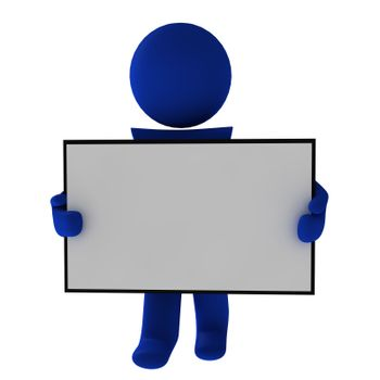 People with board on white background