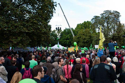 STUTTGART - SEPTEMBER 18: Demonstration against the S21 plans Sept 18, 2010 in Stuttgart, Germany.