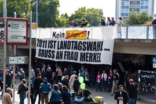 STUTTGART - SEPTEMBER 18: Demonstration against the S21 plans Se
