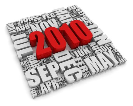 3D text representing the year 2010 and the twelve months. Part of a series of calendar concepts.