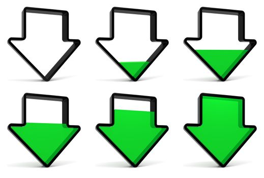 Download symbol: Start, Phase 1, Phase 2, Phase 3, Phase 4 and Phase 5. Black arrow and green fill isolated on white. Part of a series.