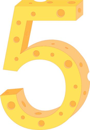 Vector cheese numeral five