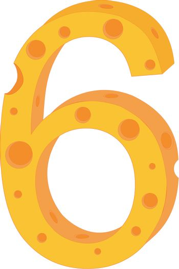 Vector cheese numeral six