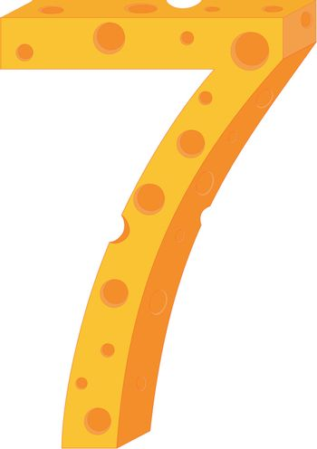 Vector cheese numeral seven
