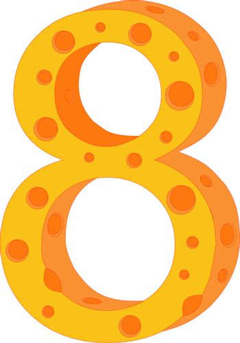 Vector cheese numeral eight