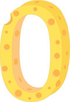 Vector cheese numeral zero