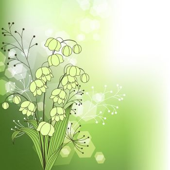 Green background with spring flowers and plants