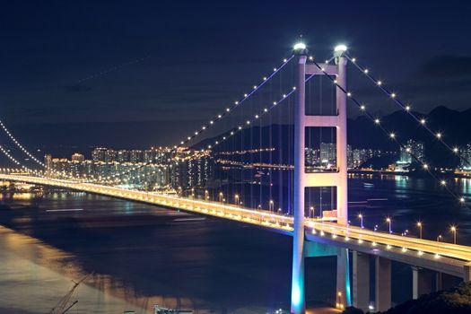 traffic highway bridge at night