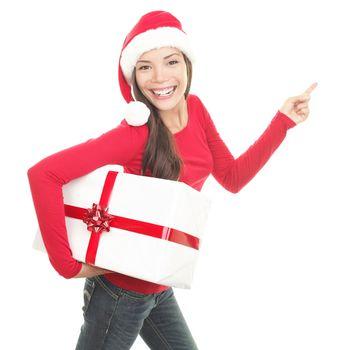 Santa girl showing copy space