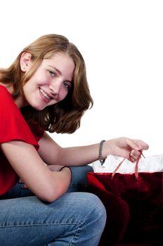 A beautiful and young stylish teenage girl Christmas Shopping