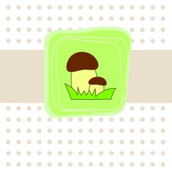 Simple card with mushroom. Vector illustration