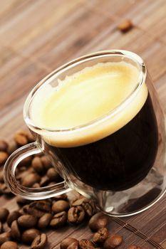 diagonal espresso with coffee beans