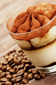 tiramisu diagonal with coffee beans
