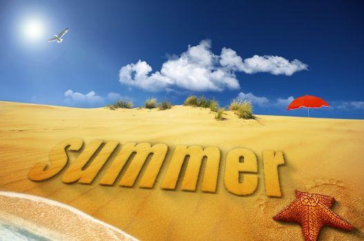 summer sand font on sea shore