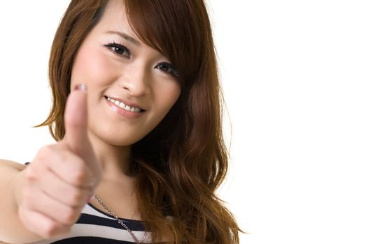 Asian woman give you excellent sign
