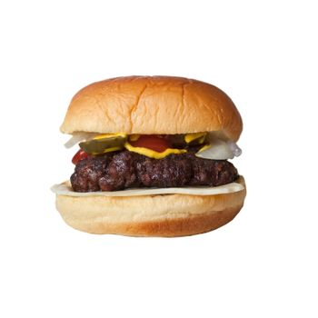 A homemade cheese burger on a potato bun isolated over white.