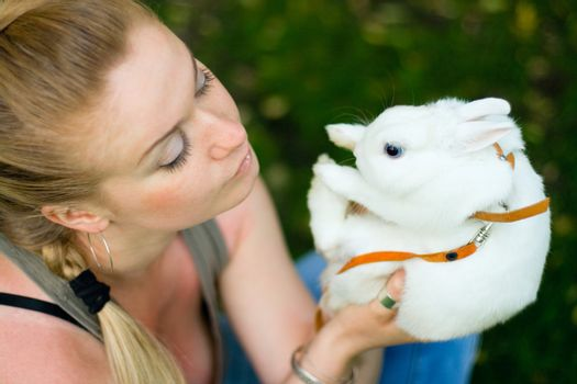 girl with white rabbit