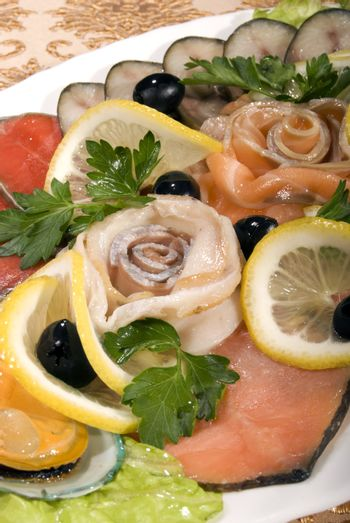 Dish with seafood