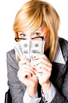 businesswoman with money