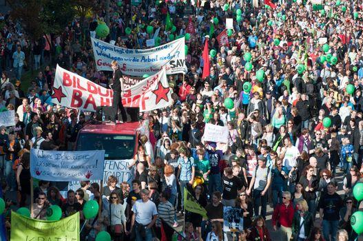 Stuttgart - Oct 09, 2010: Demonstration against S21 Railway project