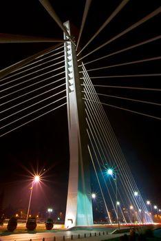 night shot of modern bridge