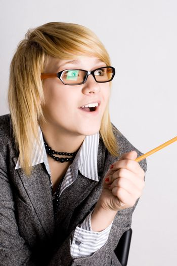 businesswoman with pencil