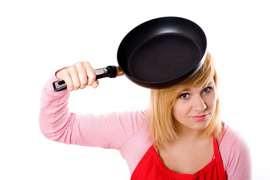 housewife with pan