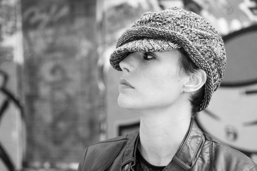 Woman wearing a wool cap