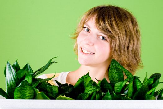 happy girl with plants