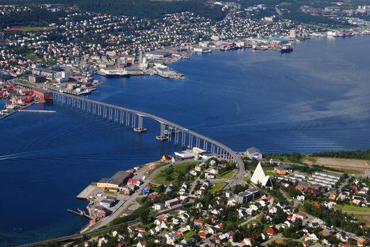 Tromsø island seen from the aerial tramway called Tromsø mountain lift.
