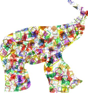 African elephants silhouette design from many bubbles vector