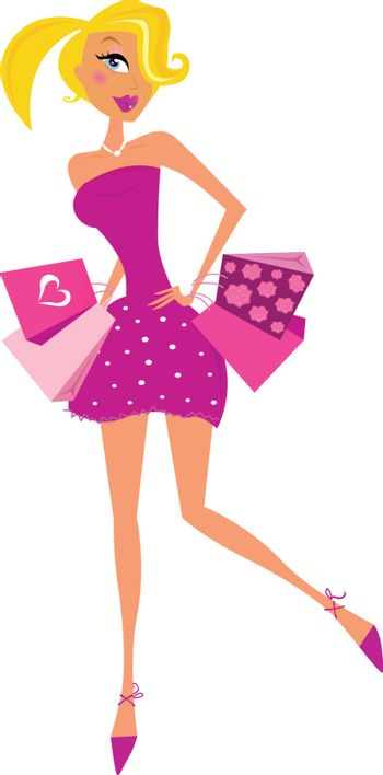 Woman with shopping bags isolated on white background. Vector Illustration in retro style.