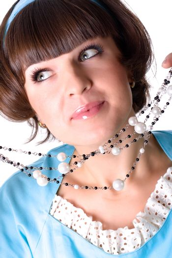 woman with pearl beads