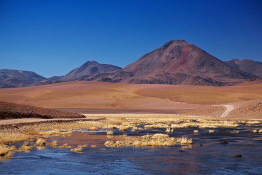stratovolcano Cerro Colorado near Rio Putana in Atacama region, Chile