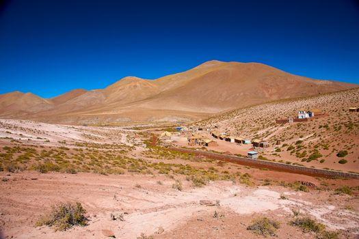 altiplano village Machuca with a typical church near San Pedro de Atacama, Chile