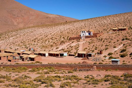altiplano village Machuca and typical church