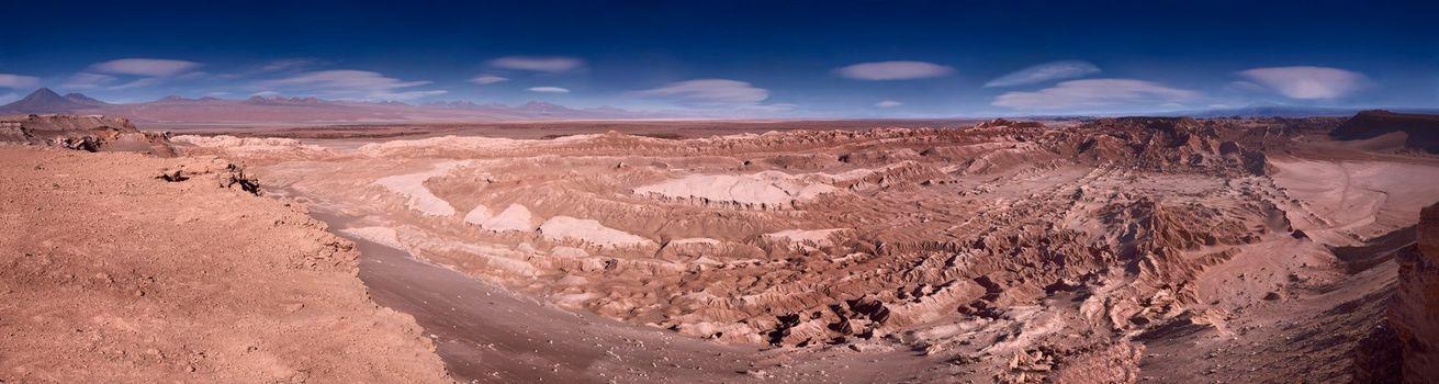 panoramic view of the Valle de la Luna (Moon Valley) close to San Pedro de Atacama, Chile, 108 Mpx