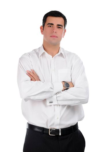 Portrait of a confident young businessman in a white shirt with isolated on white