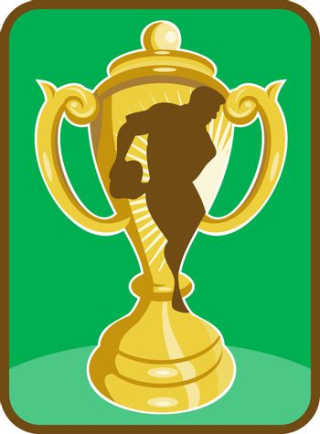 Rugby championship cup  player silhouette