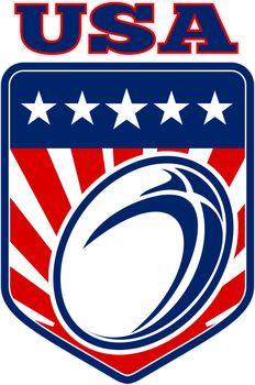 USA rugby ball stars stripes shield