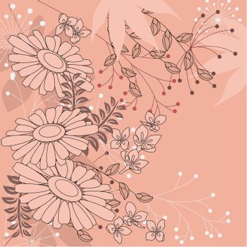 Pink floral background with contour flowers and plants