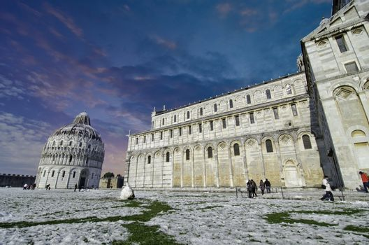 Duomo in Pisa after a Snowfall
