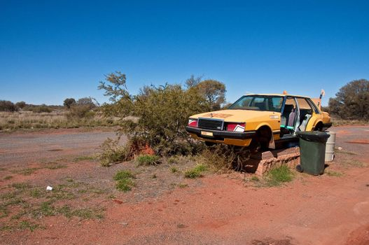 wreck car in the outback desert, south australia