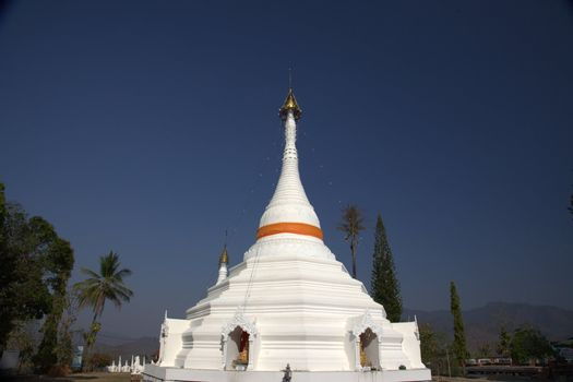 White Pagoda or temple against a blue sky Pagoda